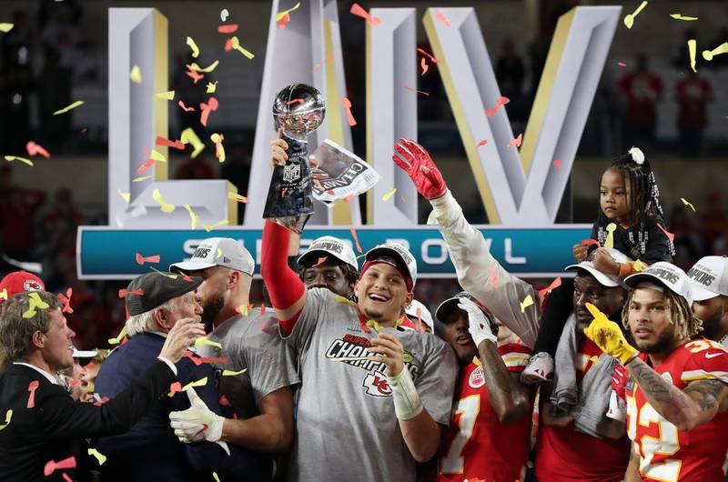 NFL Football - Super Bowl LIV - Kansas City Chiefs v San Francisco 49ers - Hard Rock Stadium, Miami, Florida, U.S. - February 2, 2020  Kansas City Chiefs' Patrick Mahomes celebrates with the Vince Lombardi trophy after winning the Super Bowl LIV REUTERS/Shannon Stapleton