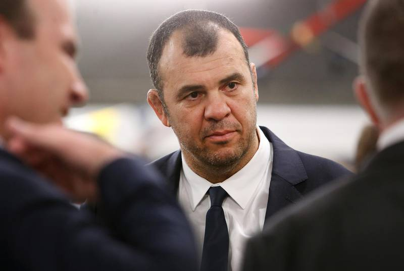 BRISBANE, AUSTRALIA - MAY 30: Michael Cheika, Wallabies coach, looks on during the Australia Wallabies squad announcement at Suncorp Stadium on May 30, 2018 in Brisbane, Australia. (Photo by Jono Searle/Getty Images)