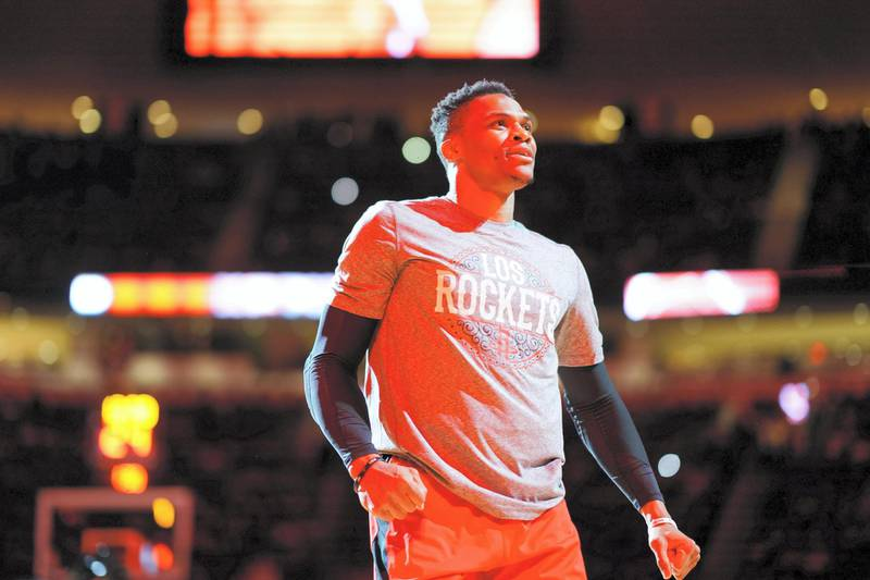 HOUSTON, TX - MARCH 5: Russell Westbrook #0 of the Houston Rockets gets introduced before the game on March 5, 2020 at the Toyota Center in Houston, Texas. NOTE TO USER: User expressly acknowledges and agrees that, by downloading and or using this photograph, User is consenting to the terms and conditions of the Getty Images License Agreement. Mandatory Copyright Notice: Copyright 2020 NBAE   Cato Cataldo/NBAE via Getty Images/AFP