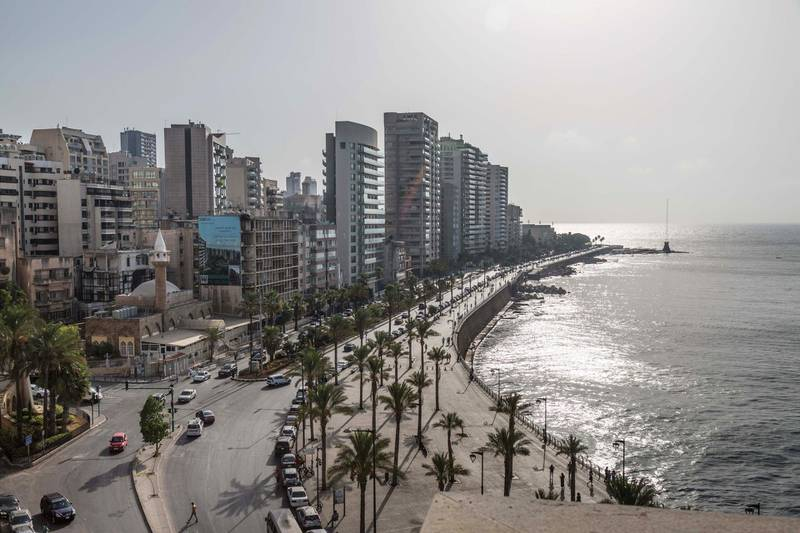 Residential and commercial buildings stand along the waterfront corniche in Beirut, Lebanon, on Tuesday, July 24, 2018. Lebanonsbanks are paying the highest interest rates on deposits in almost nine years as lenders seek to shore up their capital to cope with political uncertainty and the high borrowing needs of the government. Photographer: SimaDiab/Bloomberg via Getty Images