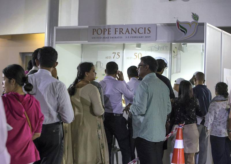 DUBAI, UNITED ARAB EMIRATES -People queuing for the Pope merchandise at St. Mary's Catholic Church, Oud Mehta.  Leslie Pableo for The National for Patrick Ryan's story