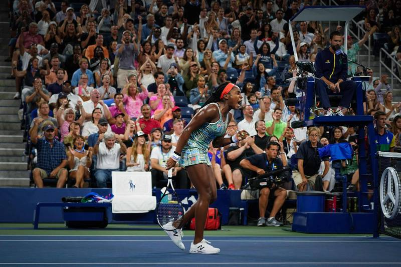 Coco Gauff of the US reacts after scoring a game point against Timea Babos of Hungary during their Round Two Women's Singles tennis match of the 2019 US Open at the USTA Billie Jean King National Tennis Center in New York on August 29, 2019.  / AFP / DOMINICK REUTER