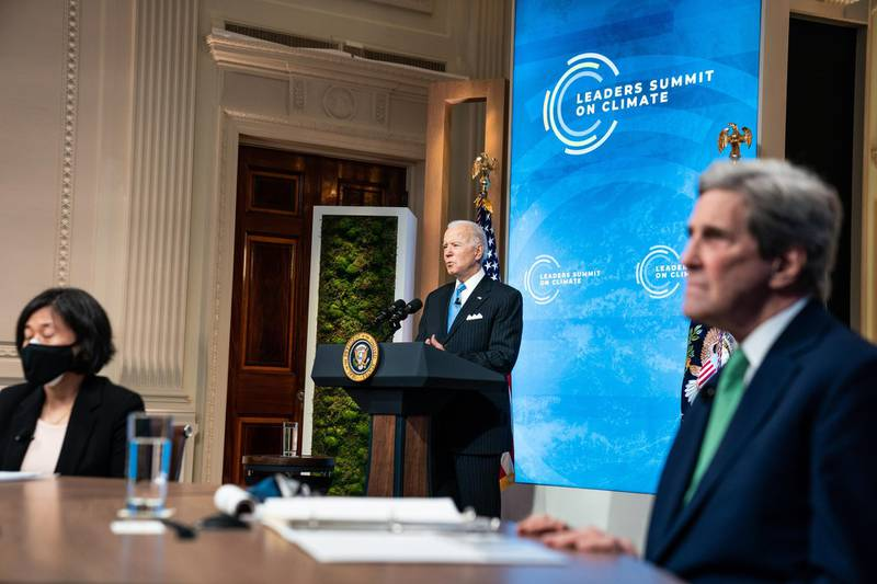 epa09155178 US President Joe Biden delivers remarks during 'Session 5: The Economic Opportunities of Climate Action' of the virtual Leaders Summit on Climate in the East Room of the White House in Washington, DC, USA, 23 April 2021. The meeting is intended to underline the urgency and economic benefits of stronger climate action on the road to the United Nations Climate Change Conference (COP26) in Glasgow in November 2021. Around 40 international leaders attend the summit.  EPA/ANNA MONEYMAKER / POOL