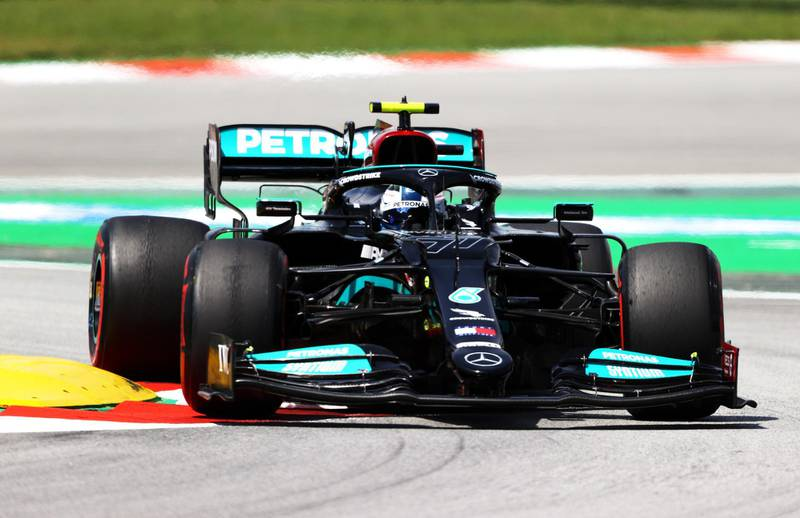 BARCELONA, SPAIN - MAY 07: Valtteri Bottas of Finland driving the (77) Mercedes AMG Petronas F1 Team Mercedes W12 on track during practice for the F1 Grand Prix of Spain at Circuit de Barcelona-Catalunya on May 07, 2021 in Barcelona, Spain. (Photo by Bryn Lennon/Getty Images)