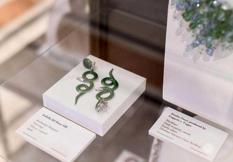 Ribbon Cutting Ceremony of DIVA-AD  ÔArchetipo SerpentiÕ earrings made of silver, enamel by Isabella del Bono at the Italian Cultural Institute Abu Dhabi on June 22, 2021. Khushnum Bhandari/ The NationalReporter: Farah Andrews Luxury/ Lifestyle