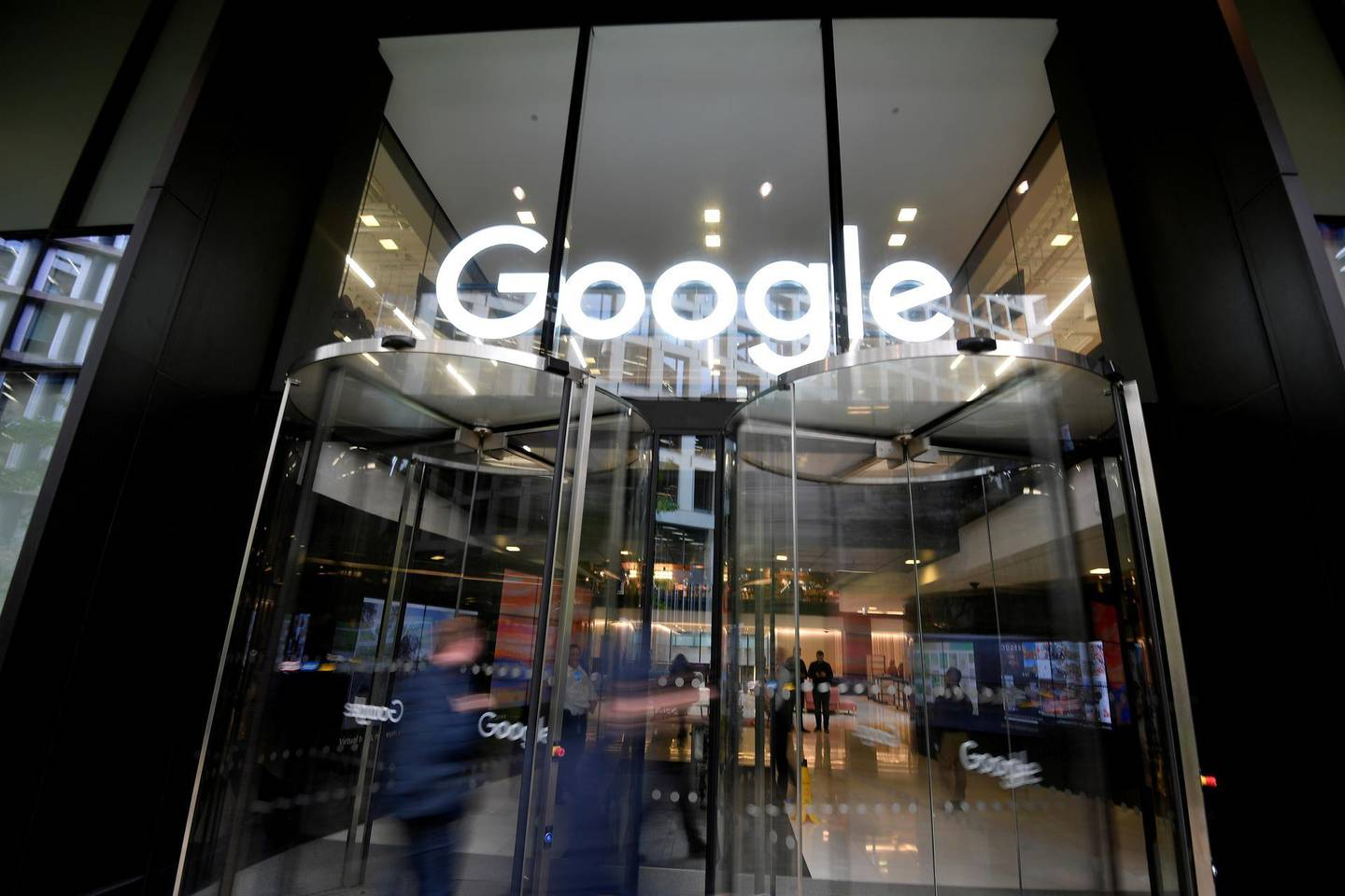 FILE PHOTO: The Google name is displayed outside the company's office in London, Britain November 1, 2018.  REUTERS/Toby Melville//File Photo