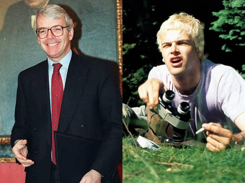 John Major in 1996 and Jonny Lee Miller in Trainspotting (1996). AFP/ Alamy
