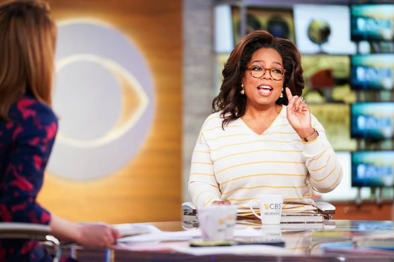 """NEW YORK - APRIL 10: Oprah before being interviewed LIVE on CBS This Morning, discussing her new book """"The Path Made Clear"""" with Gayle King, Norah ODonnell, and Anthony Mason. (Photo by Michele Crowe/CBS via Getty Images)"""