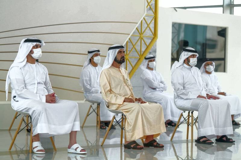 Mohammed bin Rashid launches, in the presence of Maktoum bin Mohammed and Ahmed bin Mohammed, a set of economic initiatives during his briefing on the plans and programs of the Ministry of Economy. Photo: Dubai media office twitter account.