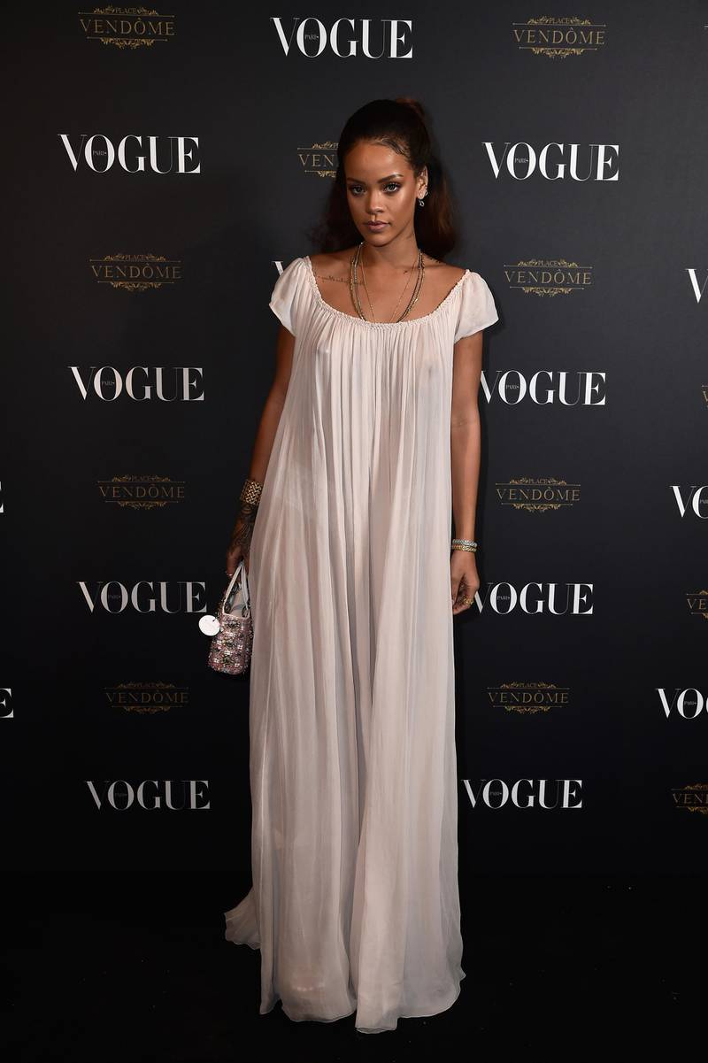 PARIS, FRANCE - OCTOBER 03:  Rihanna attends the Vogue 95th Anniversary Party on October 3, 2015 in Paris, France.  (Photo by Pascal Le Segretain/Getty Images for Vogue)