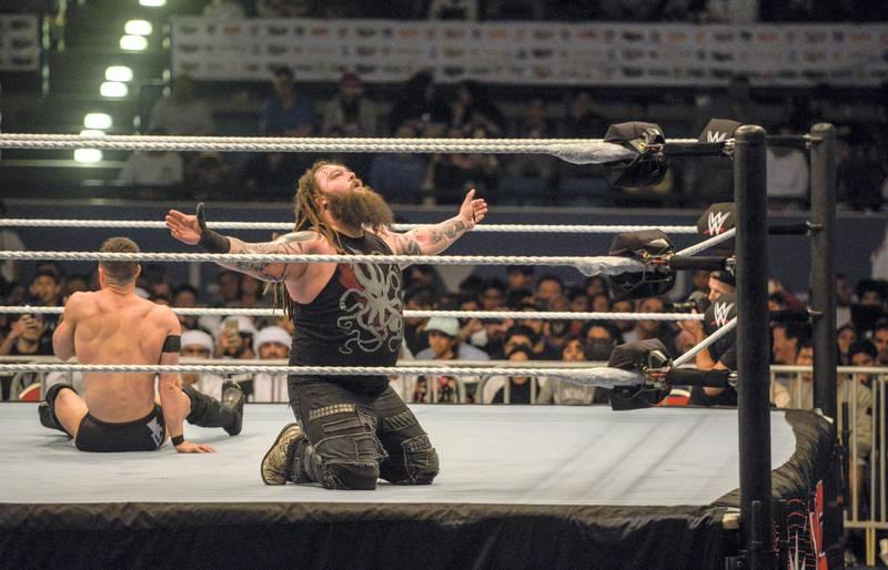 Abu Dhabi, United Arab Emirates - Finn Balor vs Bray Wyatt at the spectacular opening night of WWE, which takes place in Zayed Sports City Tennis Stadium on Thursday December 7, 2017. (Khushnum Bhandari/ The National)