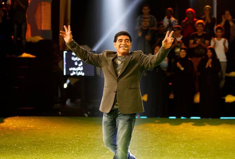 Dubai, United Arab Emirates - April 5, 2014.  Diego Maradona at the sports game show Victorious.  ( Jeffrey E Biteng / The National )  Editor's Note;  John M reports.