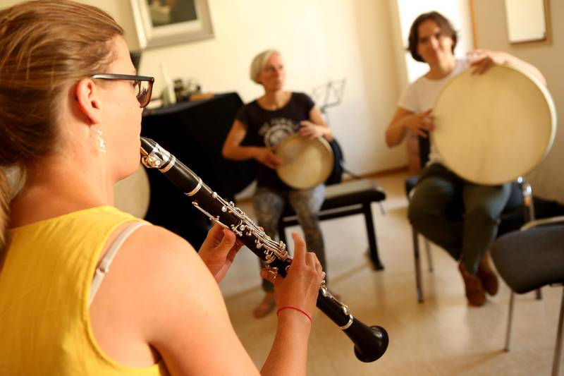 WEIMAR, GERMANY - JULY 27:  A clarinettist rehearses during Yiddish Summer Weimar on July 27, 2018 in Weimar, Germany. The annual five-week summer institute and festival, attracting students, artists, educators and audiences from more than 20 countries to its workshops, concerts, film presentations, lectures, symposia, cooking classes, dance and theater performances and jam sessions, is currently the longest and most intensive program concerning Yiddish language and Jewish music, including Klezmer as well as other types such as Hasidic and Cantorial music, in the world. The event also implements the traditional music's origins, evolution, and its merging with other genres such as Middle Eastern, jazz and regional folk. The festival, which started as a weekend workshop in 1999, has received awards from the European Union, the European Commission, the German Music Council, and the German Federal Cultural Foundation, and chose Weimar as a location for the series among other reasons thanks to the historic symbolism of the city, home to authors Johann Wolfgang von Goethe and Friedrich Schiller, Bauhaus School founder Walter Gropius, and painters Caspar David Friedrich, Paul Klee and Wassily Kandinsky, as a liberal host to the arts. The event, which this year last from July 20-August 18, represents a rebirth of post-Holocaust Jewish culture in the country.  (Photo by Adam Berry/Getty Images)