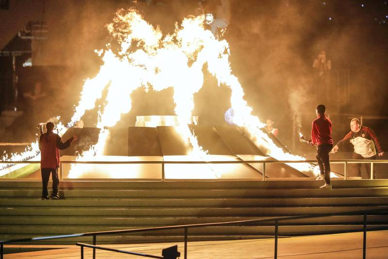 ABU DHABI, UNITED ARAB EMIRATES. 14 MARCH 2019. Opening Ceremony of the Special Olympics at Zayed Sports City. Torch Ceremony. (Photo: Antonie Robertson/The National) Journalist: None: National.