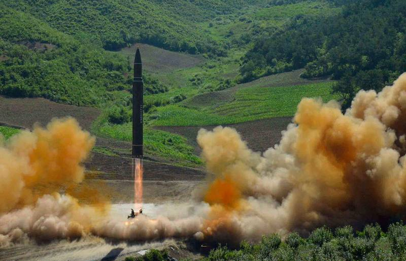 This July 4, 2017, file photo, distributed by the North Korean government shows what was said to be the launch of a Hwasong-14 intercontinental ballistic missile in North Korea. Hawaii is the first state to prepare the public for the possibility of a ballistic missile threat from North Korea. North Korea's announcement that it is finalizing a plan to launch four ballistic missiles over Japan toward the island of Guam has touched off a series of fiery threats from President Donald Trump and upped tensions between Pyongyang and Washington to a whole new level. (Korean Central News Agency/Korea News Service via AP, File)