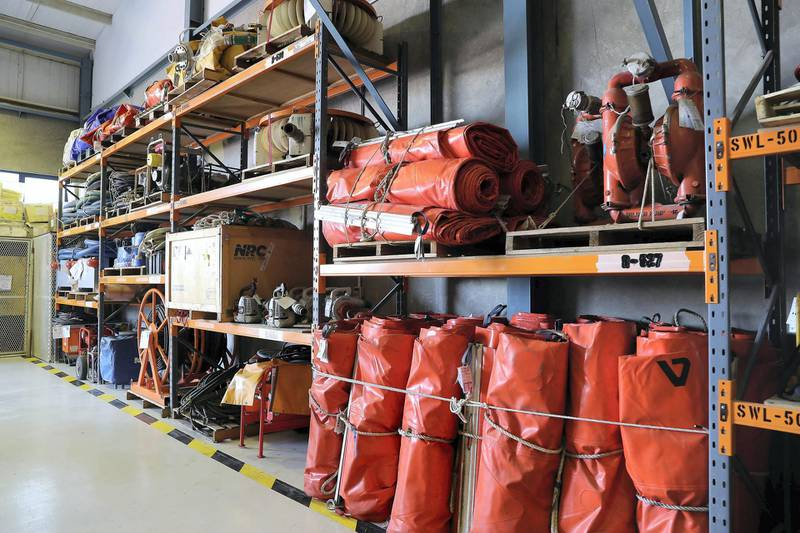 ABU DHABI, UNITED ARAB EMIRATES , March 3  – 2020 :- Different type of equipment in the Oil Spill Response warehouse at the ADNOC Logistics and Services Maritime Logistics Base in Mussafah in Abu Dhabi. (Pawan Singh / The National) PLEASE NOTE: NOT TO BE USED FOR ANY OTHER STORY