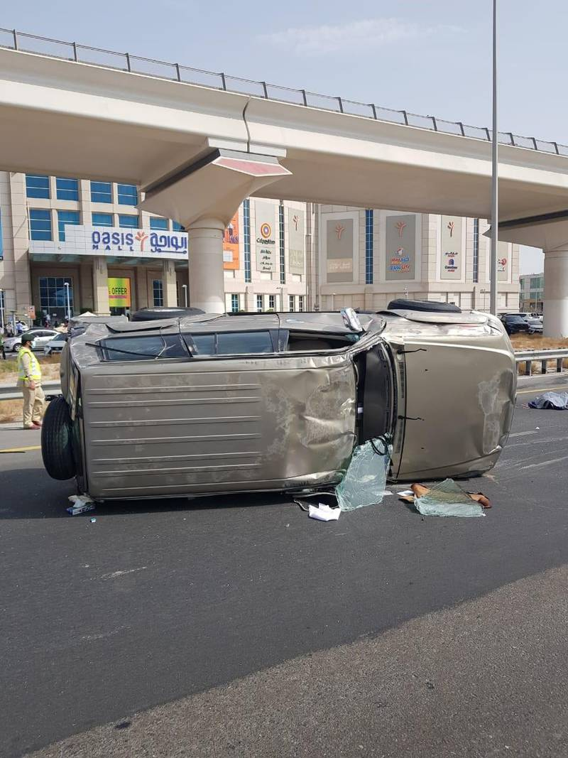 One person died and 5 others were injured in separate traffic accidents during the weekend in Dubai. Courtesy Dubai Police