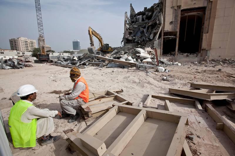 DUBAI, UNITED ARAB EMIRATES,  January 30, 2013. The old Hard Rock Cafe being demolished on Sheikh Zayed road next to the American University Of Dubai. (ANTONIE ROBERTSON / The National)