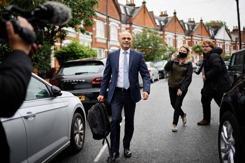 Newly appointed Health Secretary Sajid Javid leaves his residence in southwest London on June 28, 2021. / AFP / Tolga Akmen