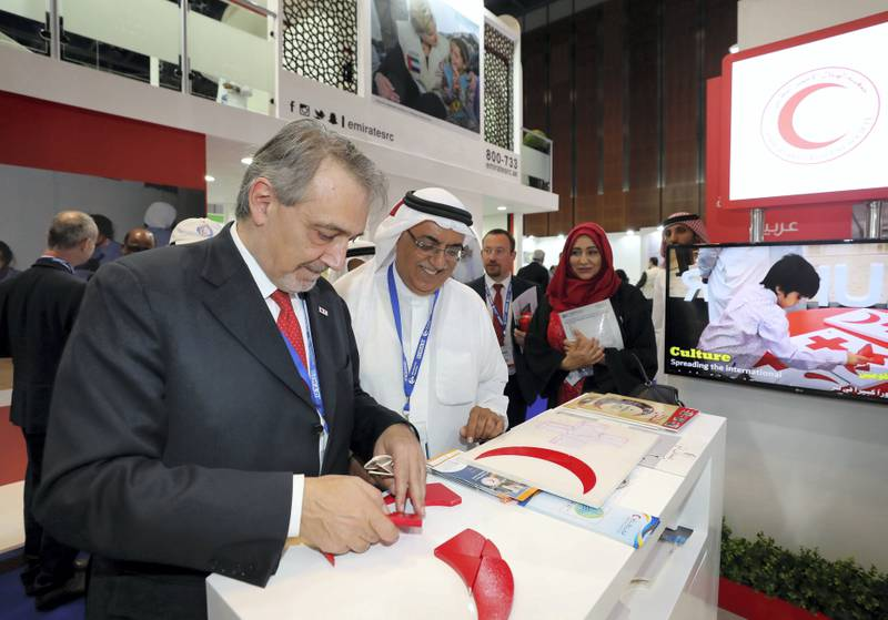 Dubai, United Arab Emirates - March 12, 2019: Francesco Rocca (L) president of international federation of Red Cross and red crescent societyÕs at the Dubai International Humanitarian Aid and Development (DIHAD) Conference. Tuesday the 12th of March 2019 at Dubai International Convention Centre, Dubai. Chris Whiteoak / The National
