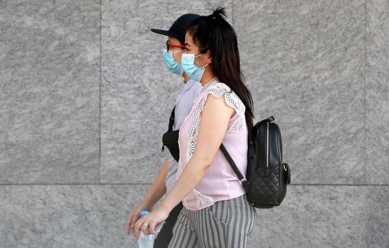 DUBAI, UNITED ARAB EMIRATES , June 29 – 2020 :- People wearing protective face mask as a preventive measure against the spread of coronavirus in Al Barsha in Dubai. (Pawan Singh / The National) For News/Stock