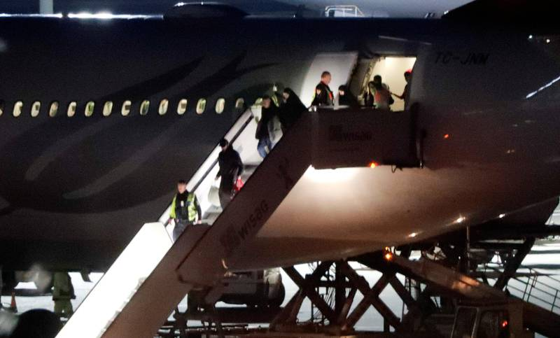 German Islamic State detainees and their families arrive at the Tegel Airport in Berlin Germany, November 14, 2019. REUTERS/Fabrizio Bensch