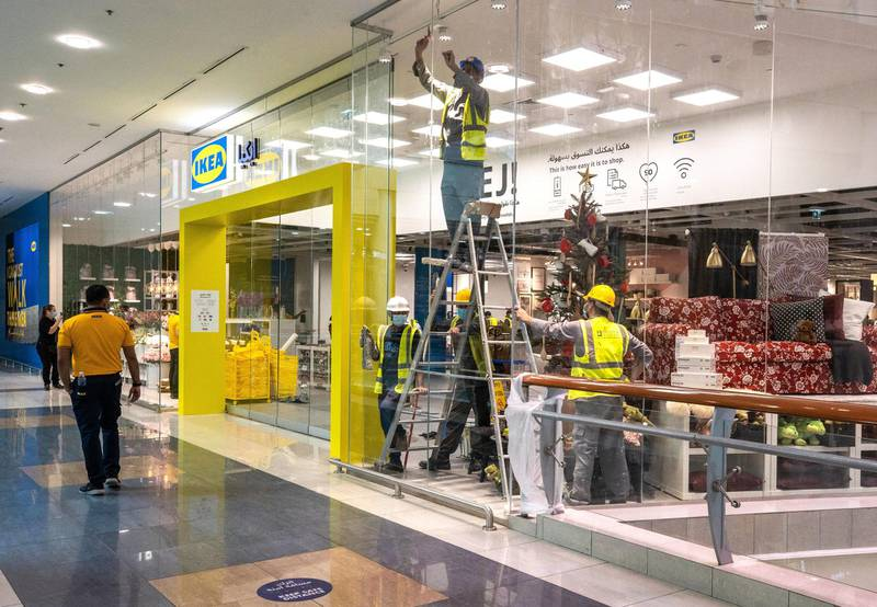 Abu Dhabi, United Arab Emirates, November 8, 2020.   A first look at the IKEA store at Al Wahda Mall before the opening on Tuesday, November 10.  IKEA store staff and carpenters get the store set up for the store opening on Tuesday.Victor Besa/The NationalSection:  LFReporter:  Farah Andrews