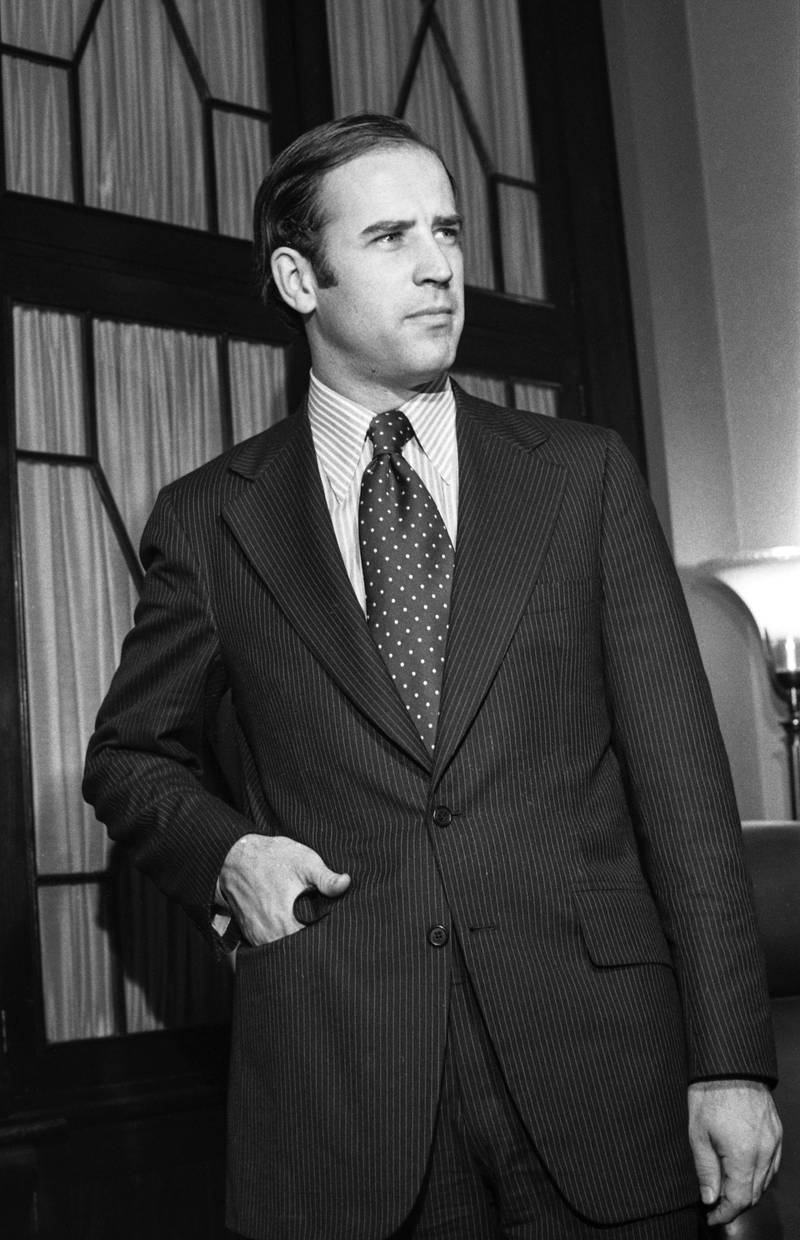 Democratic Senator-elect Joseph Biden, of Delaware is seen here after he took  his oath of citizenship as he checks in at the office of the Secretary of the Senate.  Biden, who just turned thirty will be the youngest Senator in Congress when he takes his seat in the 93rd Congress on January 3rd. (Photo by Bettmann Archive/Getty Images)
