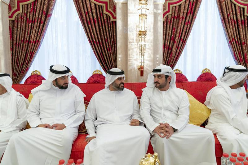 DUBAI, UNITED ARAB EMIRATES - May 19, 2019: (L-R) HH Sheikh Ahmed bin Mohamed bin Rashed Al Maktoum, HH Sheikh Theyab bin Mohamed bin Zayed Al Nahyan, Chairman of the Department of Transport, and Abu Dhabi Executive Council Member and HH Sheikh Maktoum bin Mohamed bin Rashid Al Maktoum, Deputy Ruler of Dubai, attend an iftar reception hosted by HH Sheikh Mohamed bin Rashid Al Maktoum, Vice-President, Prime Minister of the UAE, Ruler of Dubai and Minister of Defence (not shown), at Zabeel Palace.   ( Mohamed Al Hammadi / Ministry of Presidential Affairs ) ---