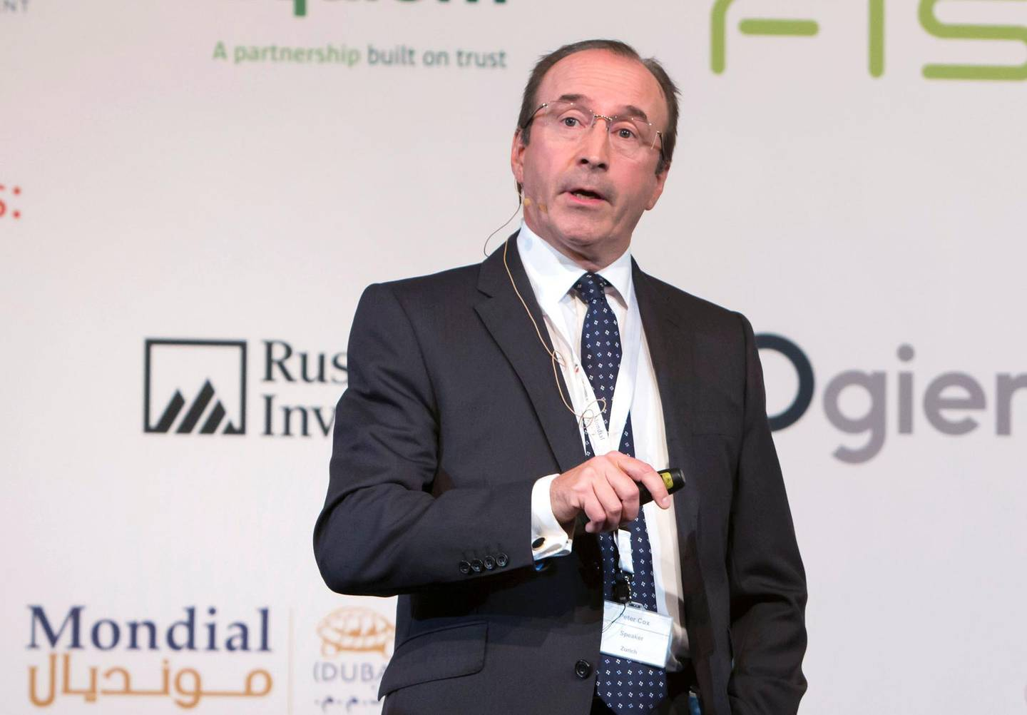 DUBAI, UNITED ARAB EMIRATES -Peter Cox, Head of Sales, Zurich International at the 1st Workers Incentives and End of Service Benefits Conference 2019, Intercontinental Hotel, Dubai Festival City.  Leslie Pableo for The National for Alice Hines