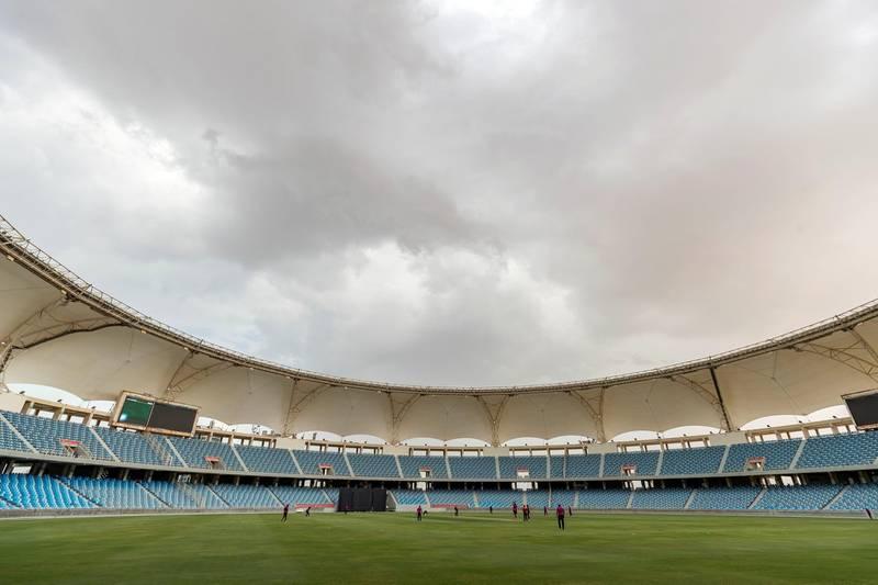 Dubai, United Arab Emirates - October 07, 2019: Dark clouds loom over the game between the UAE and Bermuda. Monday the 7th of October 2019. International Cricket Stadium, Dubai. Chris Whiteoak / The National