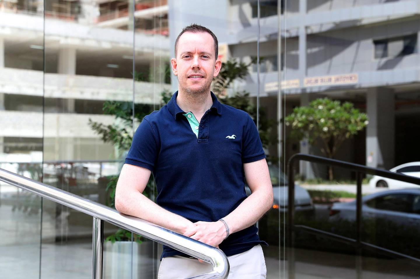 DUBAI, UNITED ARAB EMIRATES , June 11 – 2020 :- Oliver Brinsley at his apartment building in Barsha Heights in Dubai. He lost his job just before the pandemic was declared and still not found anything yet. (Pawan Singh / The National) For News/Online. Story by Gill