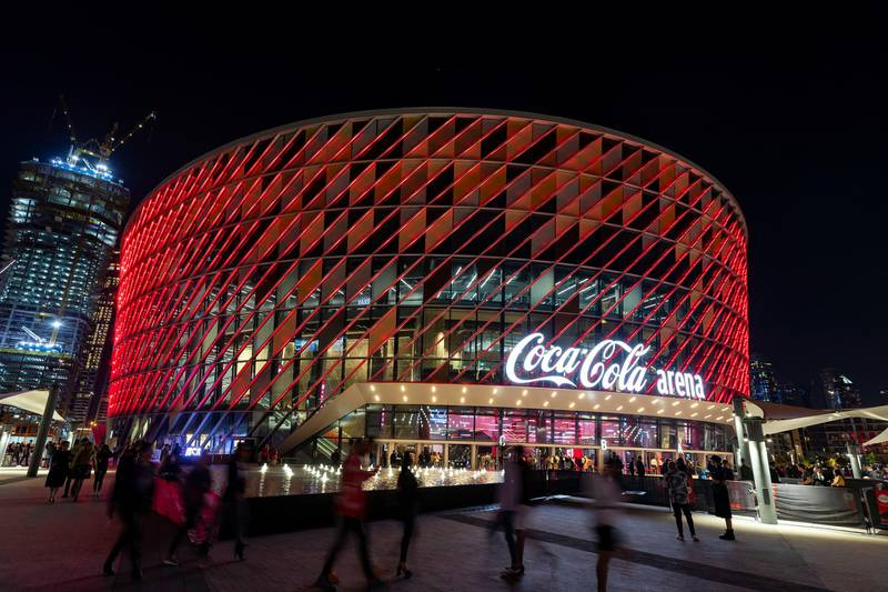 Dubai, United Arab Emirates - Reporter: Saeed Saeed: Fans outside the Coca Cola Arena before the concert by Latin superstar Maluma. Friday, February 14th, 2020. Coca Cola Arena, Dubai. Chris Whiteoak / The National