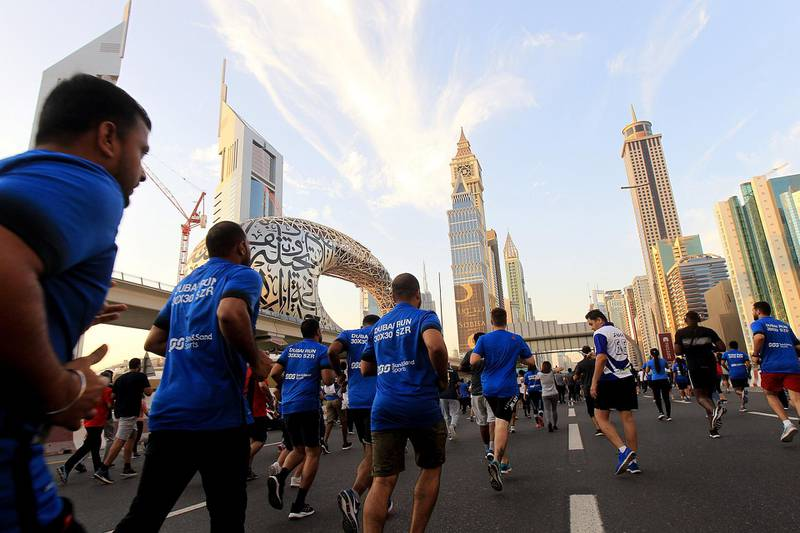 Dubai, October, 08 2019: People participate in the Dubai Run in Dubai . Satish Kumar/ For the National
