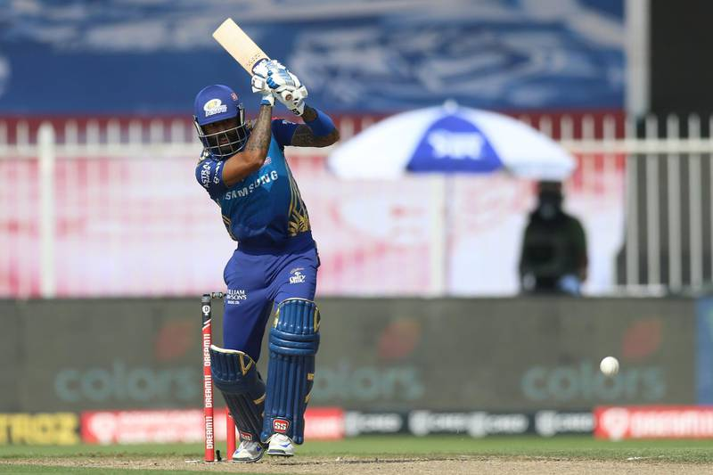 Surya Kumar Yadav of Mumbai Indians bats during match 17 of season 13 of the Dream 11 Indian Premier League (IPL) between the Mumbai Indians and the Sunrisers Hyderabad held at the Sharjah Cricket Stadium, Sharjah in the United Arab Emirates on the 4th October 2020. Photo by: Deepak Malik  / Sportzpics for BCCI