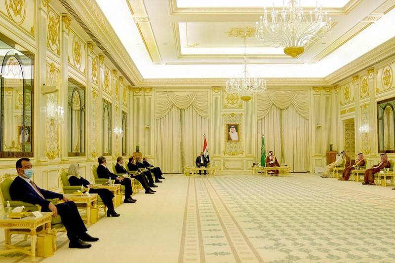 Iraqi Prime Minister Mustafa Al Kadhimi meets with Saudi Crown Prince Mohammed bin Salman. Iraqi Prime Minister Media Office