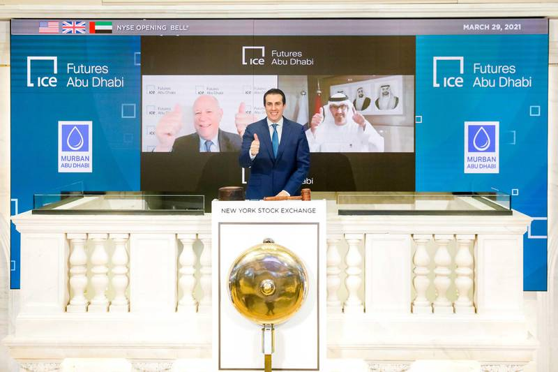 """Monday, March 29th, 2021 The New York Stock Exchange celebrates the launch of ICE Futures Abu Dhabi The New York Stock Exchange celebrates, today, Monday, March 29, 2021, the launch of ICE Futures Abu Dhabi (""""IFAD"""") markets, ICE's new exchange in Abu Dhabi. To honor the occasion, Jeffrey Sprecher, Chairman and Chief Executive Officer, Intercontinental Exchange, Chairman, New York Stock Exchange, and H.E. Dr. Sultan Al Jaber, Chief Executive Officer, ADNOC Group, virtually ring The Opening Bell®.  (Bell Ringer –  John Tuttle, NYSE Vice Chairman and Chief Commercial Officer )Photo Credit: NYSE"""