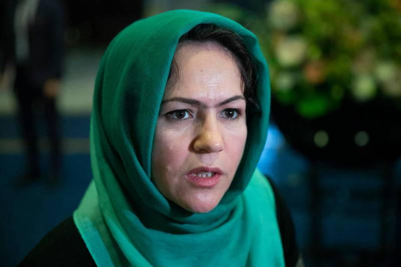 """FILE - In this Feb. 5, 2019, file photo, Afghan politician Fawzia Koofi speaks to media before the """"intra-Afghan"""" talks in Moscow, Russia. Koofi survived an assassination attempt, Afghan officials said Saturday, Aug. 15, 2020. A spokesman for the Interior Ministry said that Koofi was attacked late Friday afternoon near the capital of Kabul returning from a visit to the northern province of Parwan. (AP Photo/Pavel Golovkin)"""