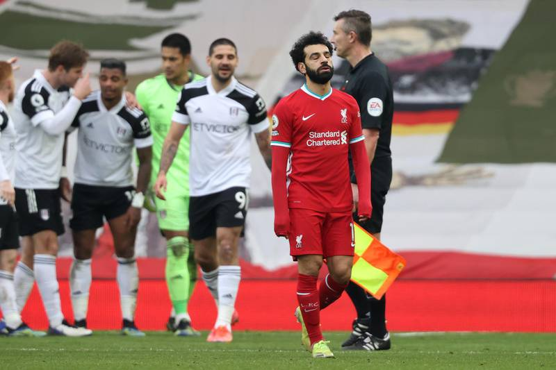 LIVERPOOL, ENGLAND - MARCH 07: Mohamed Salah of Liverpool looks dejected following the Premier League match between Liverpool and Fulham at Anfield on March 07, 2021 in Liverpool, England. Sporting stadiums around the UK remain under strict restrictions due to the Coronavirus Pandemic as Government social distancing laws prohibit fans inside venues resulting in games being played behind closed doors. (Photo by Clive Brunskill/Getty Images)