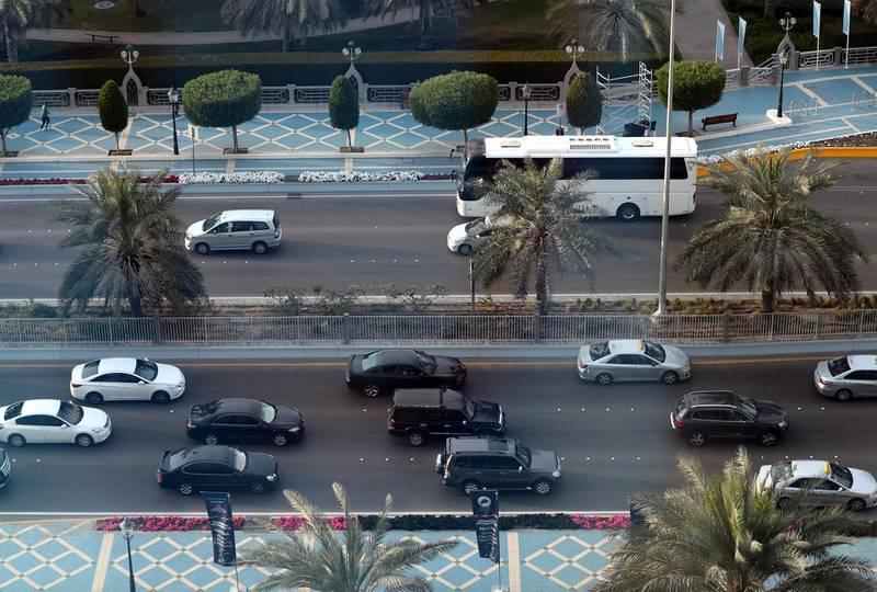 Abu Dhabi, United Arab Emirates - February 12th, 2018: Stand alone. Traffic in Abu Dhabi. Monday, February 12th, 2018. Corniche, Abu Dhabi. Chris Whiteoak / The National