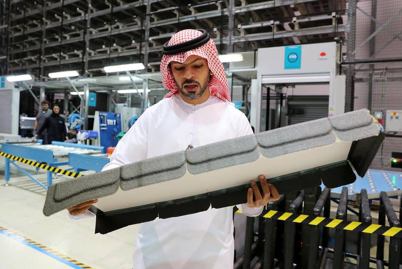AL AIN , UNITED ARAB EMIRATES , JULY 2 – 2018 :- Ismail Ali Mohammed Abdulla , Chief Executive Officer explaining about the manufacturing of parts for Airbus and Boeing at the Strata Manufacturing facility in Al Ain. ( Pawan Singh / The National )  For News. Story by John Dennehy
