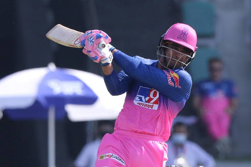 Mahipal Lomror of Rajasthan Royals plays a shot during match 15 of season 13 of Indian Premier League (IPL) between the Royal Challengers Bangalore and the Rajasthan Royals at the Sheikh Zayed Stadium, Abu Dhabi  in the United Arab Emirates on the 3rd October 2020.  Photo by: Pankaj Nangia  / Sportzpics for BCCI