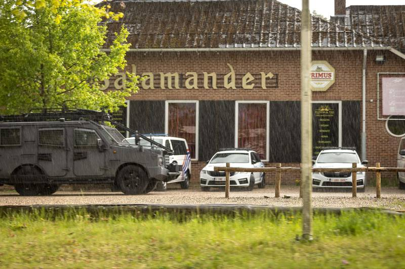 This photograph show special forces at Salamander, the main entrance of National Park Hoge Kempen in Dilsen-Stokkem, on May 19, 2021 as authorities are looking for a heavily armed professional soldier, Jurgen Conings, in the province of Limburg, since May 18, 2021. - The 46-year old man made threats against virologist Van Ranst who is brought to safety. (Photo by JAMES ARTHUR GEKIERE / Belga / AFP) / Belgium OUT