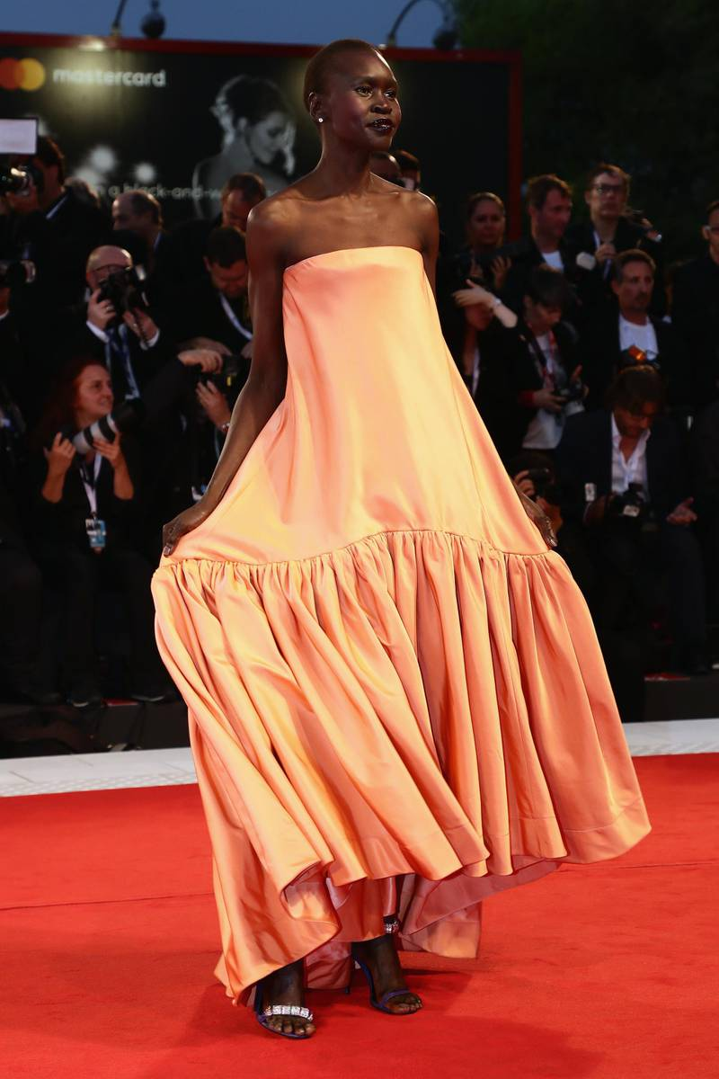 VENICE, ITALY - SEPTEMBER 01:  Alek Wek walks the red carpet ahead of the 'Suspiria' screening during the 75th Venice Film Festival at Sala Grande on September 1, 2018 in Venice, Italy.  (Photo by Vittorio Zunino Celotto/Getty Images)