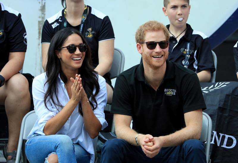 Prince Harry and Meghan Markle watch Wheelchair Tennis at the 2017 Invictus Games in Toronto, Canada. (Photo by Danny Lawson/PA Images via Getty Images)
