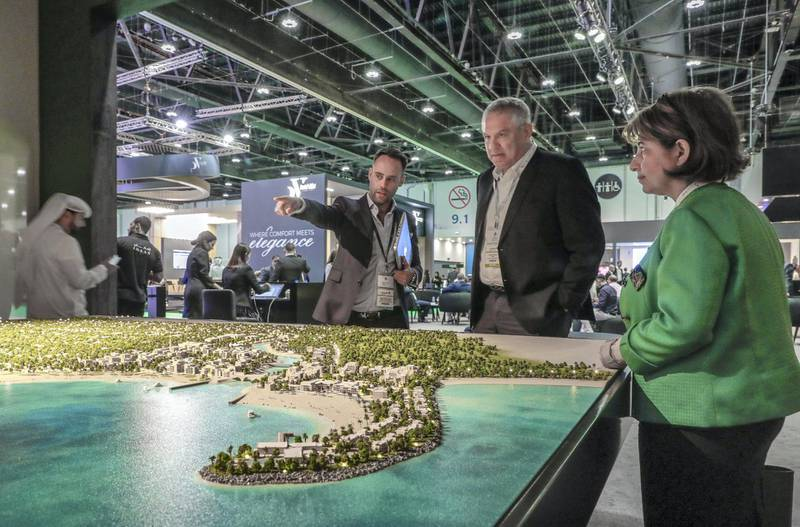 Abu Dhabi, April 17, 2019.  Cityscape AUH day 2-AUH.-  The IMKAN stall and  architectural scale model area.Victor Besa/The National.Section:  BZ Reporter:  Sarmad Khan