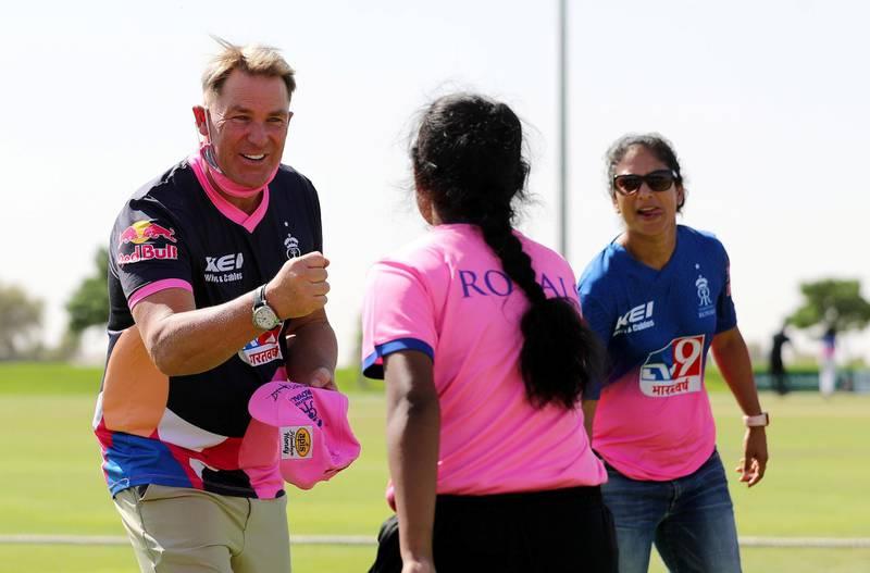 Dubai, United Arab Emirates - Reporter: Paul Radley. Sport. Cricket. Shane Warne. Girls trials for Rajasthan Royals cricket academy. Wednesday, October 14th, 2020. The Sevens, Dubai. Chris Whiteoak / The National