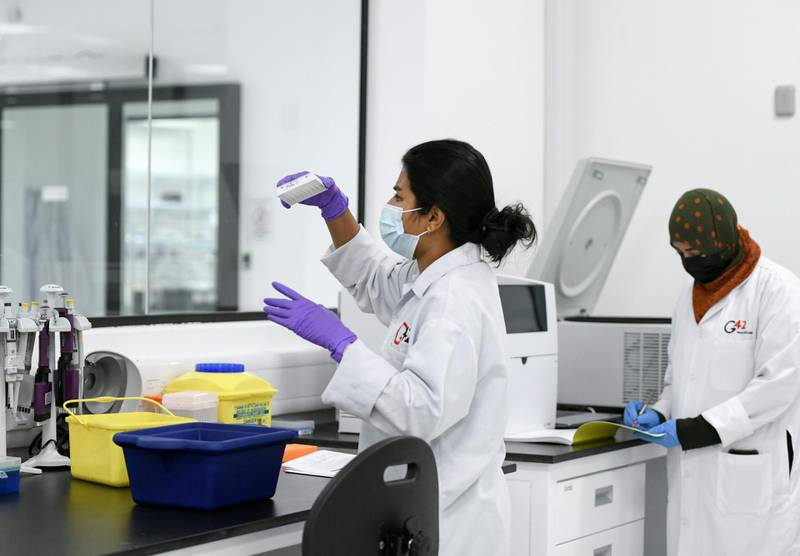Abu Dhabi, United Arab Emirates - Genome research done by staff at the Omics Lab in Masdar City. Khushnum Bhandari for The National