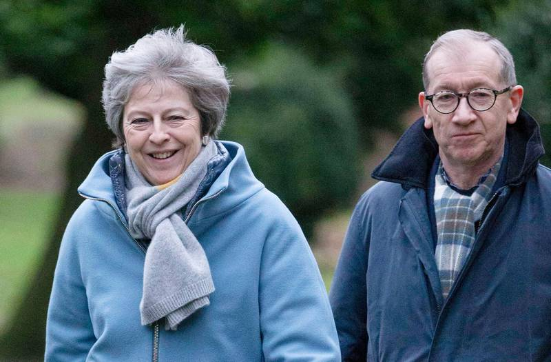 epaselect epa07279552 British Prime Minister, Theresa May and her husband Philip attend Sunday morning prayers at her local church in Maidenhead, Britain, 13 January 2019. Members of the British Parliament are due to vote on Theresa May's  Brexit deal on 15 January 2019, with Britain set to leave the European Union on 29 March 2019.  EPA/STRINGER