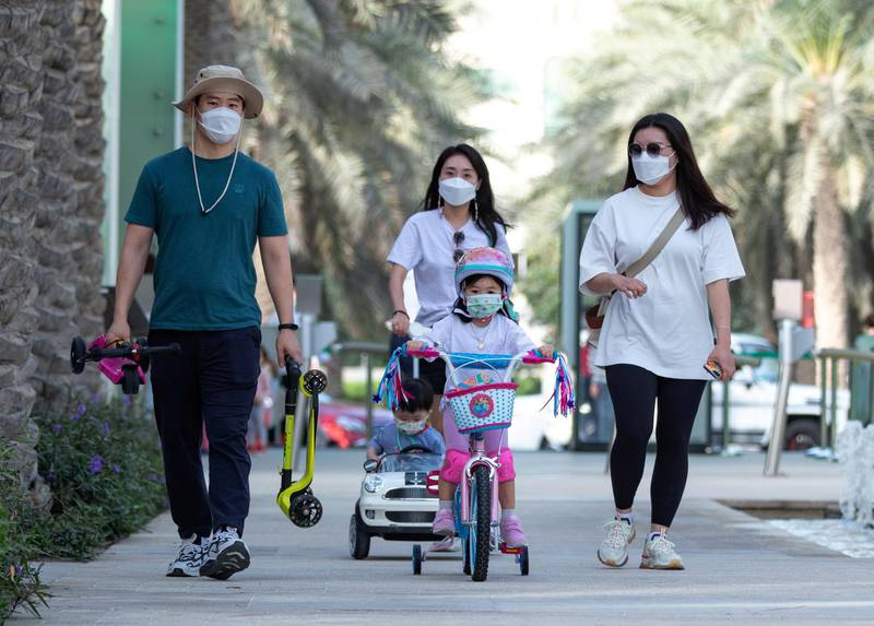Abu Dhabi, United Arab Emirates, March 15, 2021.  Emirati Children's Day at Umm Al Emarat Park.  The Jang family from Korea.Victor Besa/The NationalSection:  NAFOR:  Stand Alone/ Big Picture